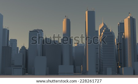 3d rendered afternoon of city made of skyscrapers