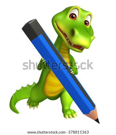 3d Rendered alligator cartoon character with pencil