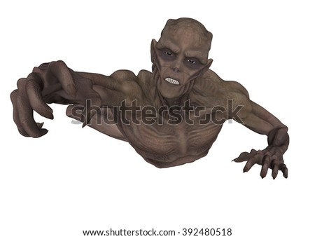 3D rendered ancient vampire on white background isolated - stock photo