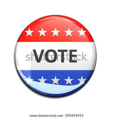 3d rendered and cut out vote button for US elections.