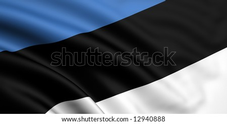 3d rendered and waving flag of estonia - stock photo