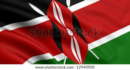 3d rendered and waving flag of kenya - stock photo