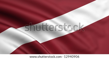 3d rendered and waving flag of latvia - stock photo