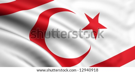 3d rendered and waving flag of northern cyprus - stock photo