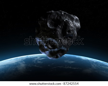 3d rendered armageddon scene with an asteroid - stock photo