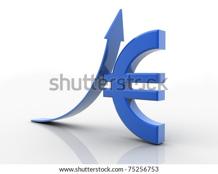 3D rendered arrow diagram moving up over Euro