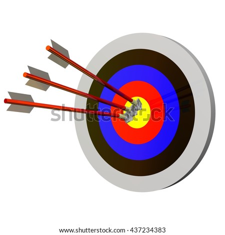3D Rendered arrows in a target perfect for an icon or clip art. Isolated on a white background.