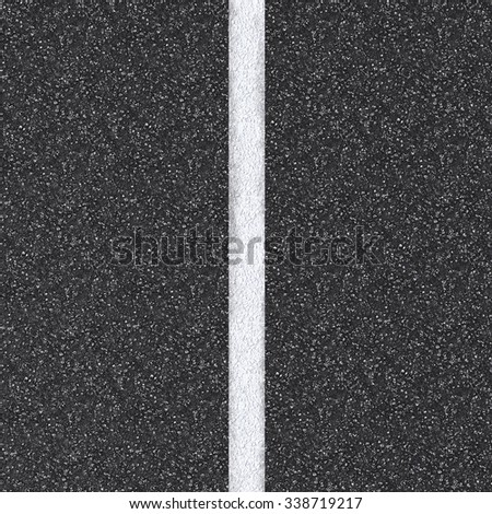 3d rendered asphalt road top view with white lines