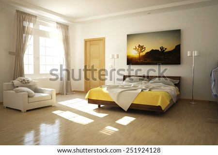 3D rendered bed room - stock photo
