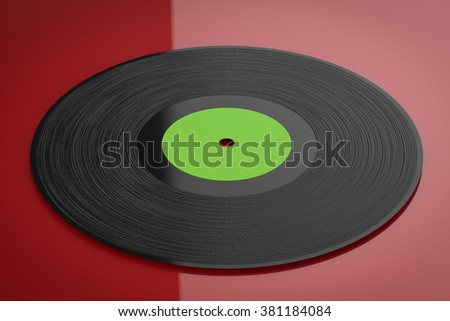 3d rendered black vinyl record on red background - stock photo