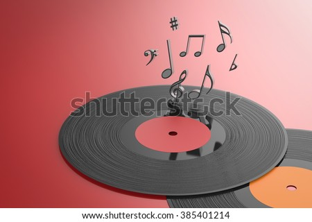 3d rendered black vinyl record with music notes - stock photo