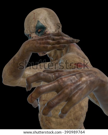 3D rendered bloody undead clown on black background isolated - stock photo