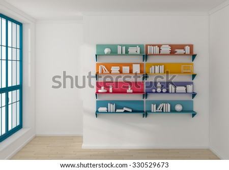 3d rendered bookshelves with books and decorations.