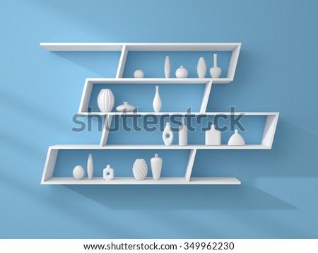 3d rendered bookshelves with decorative ceramics. - stock photo