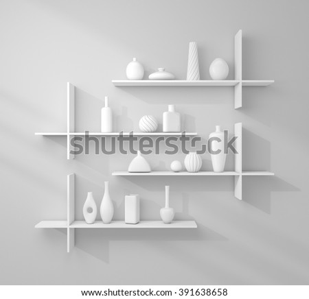 3d rendered bookshelves with decorative ceramics.