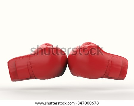 3d rendered boxing gloves on white background