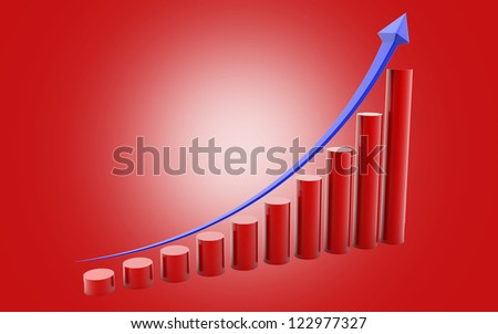 3d rendered business graph isolated on color background