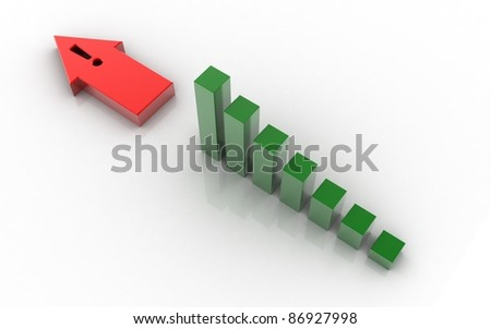 3d rendered business graph with arrow