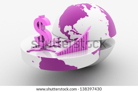 3d rendered business graph with earth and dollar