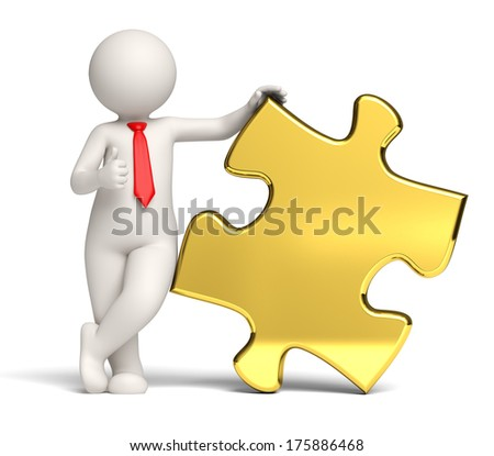 3d rendered business man standing near a big gold puzzle with copyspace showing thumbs up - stock photo