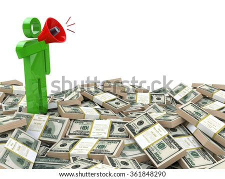 3d rendered businessman speaking through a megaphone around money - business motivation concept in the design of the information related to the business - stock photo