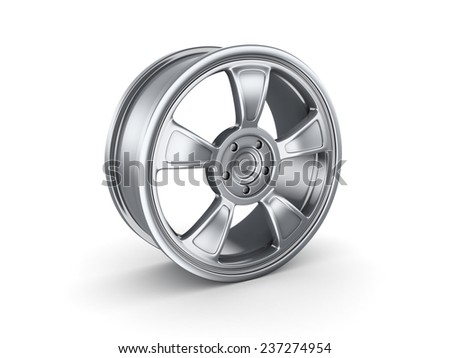 3d rendered car rim isolated on white background. - stock photo