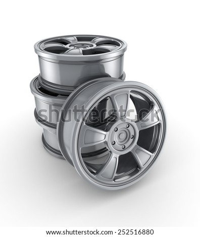 3d rendered car rims isolated on white background. - stock photo