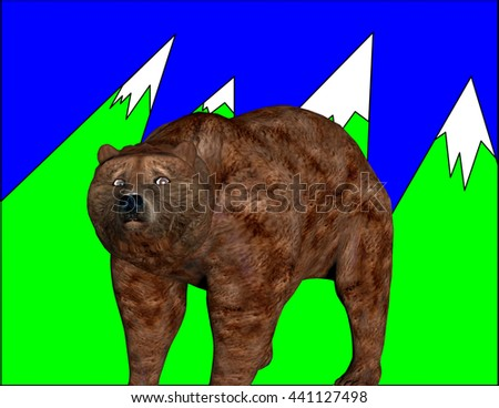 3d rendered cartoon illustration of a bear and mountains