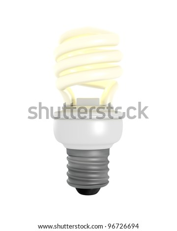 3D Rendered CFL Light Bulb on a White Background - stock photo