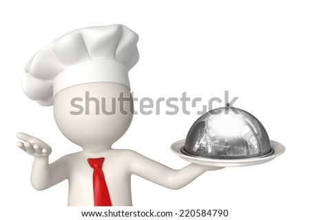 3d rendered chef serving a plate to welcome the customers - stock photo