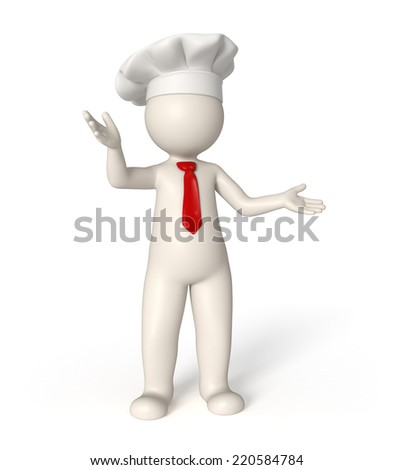 3d rendered chef with red tie - stock photo