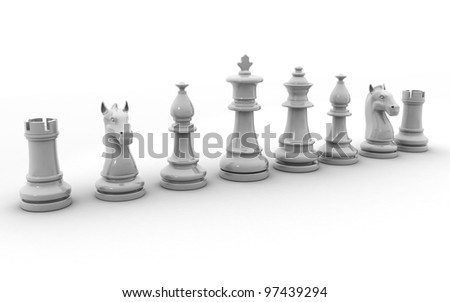 3d rendered chess pieces isolated on a white background