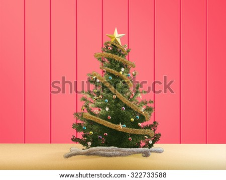 3d rendered christmas tree on red background