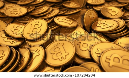 3D rendered close up illustration of a large group of golden Bitcoins with depth of field blur - stock photo