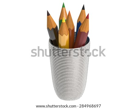3d rendered colored pencils in a glass