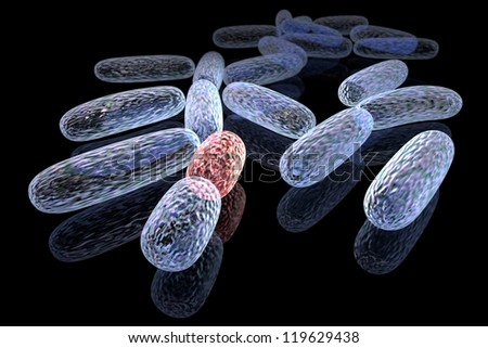 3d rendered concept of transformed bacteria - stock photo
