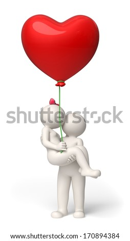 3d rendered couple in love on Valentines day with a red heart balloon in her hand - stock photo