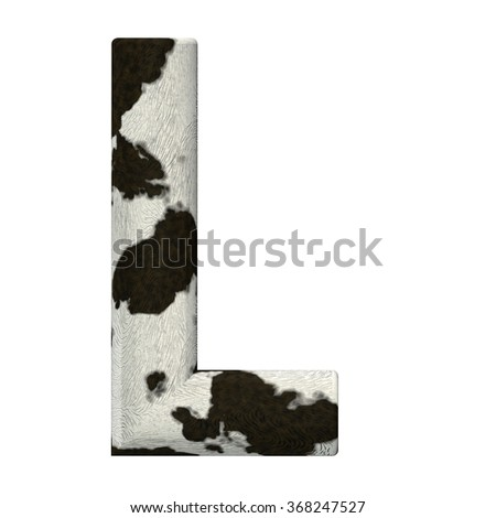 3d Rendered Cow Skin Alphabet and Numbers