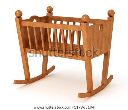 3d rendered cradle isolated on white - stock photo