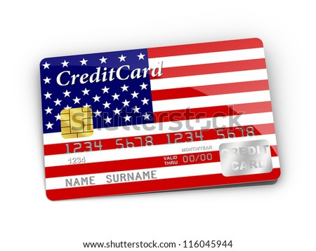 3D rendered Credit Card covered with American flag. - stock photo
