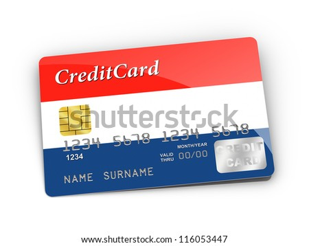 3D rendered Credit Card covered with  Dutch flag.