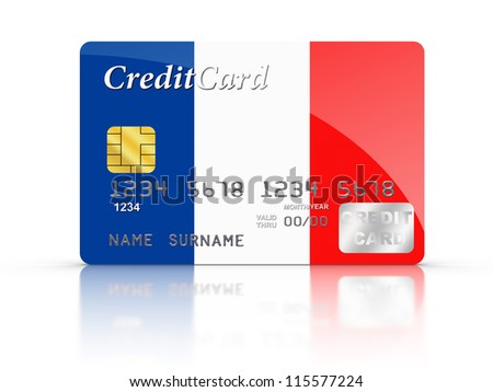 3D rendered Credit Card covered with  French flag.