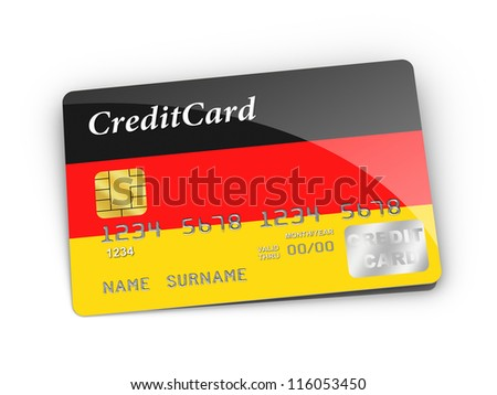 3D rendered Credit Card covered with  German flag.