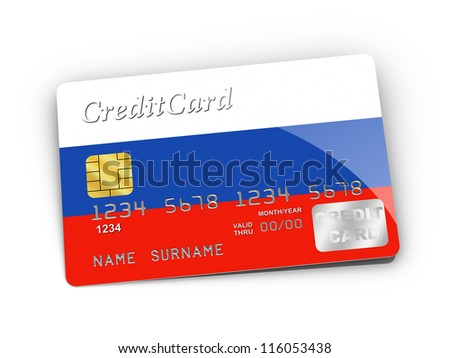 3D rendered Credit Card covered with Russia flag.