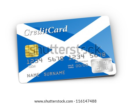 3D rendered Credit Card covered with Scottish flag.