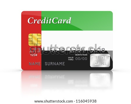 3D rendered Credit Card covered with United Arab Emirates Flag.