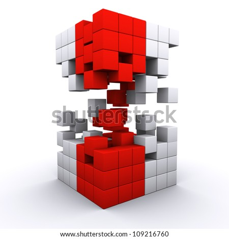 3D rendered 3d cube assembling from blocks - stock photo