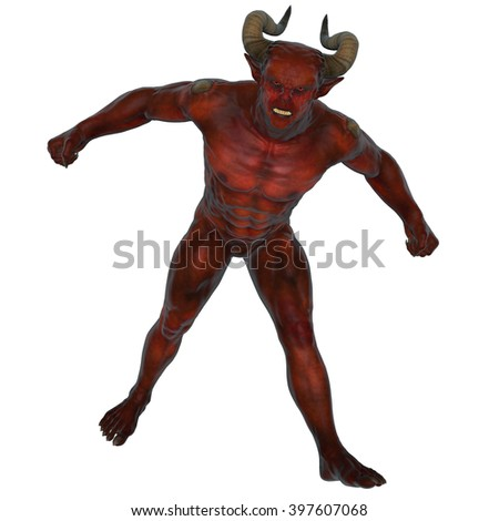 3D rendered devil from the hell on white background isolated - stock photo