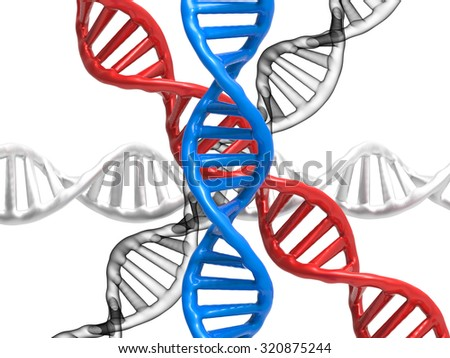 3d rendered dna structures - stock photo