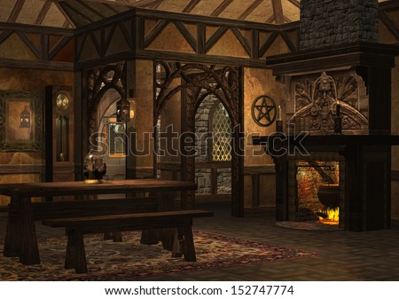 3D rendered dwarf cottage with fireplace on evening - stock photo